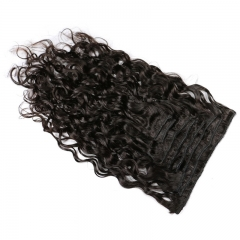 Natural Wave Wavy Natural Black Color Human Hair 10PCS Clip In Hair Extentions For Women 10~30 Inch