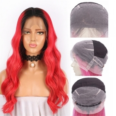 Color Full Lace Wig BodyWave 1B Red Ombre Color For Women Long Virgin Hair