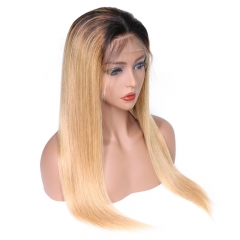 Color Full Lace Wig Straight 1B/27# Ombre Color Top Quality For Women Long Straight Virgin Hair