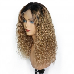 Color Full Lace Wig 1B/4# Natural Wave 130% Density Ombre Color 100% Human Glueless