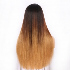 Color Full Lace Wig Straight 1B/4#/27 Ombre Color Glueless 130% Density 100% Human Wigs