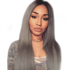 Color Full Lace Wig Straight 1B/Grey Root Ombre Color Top Quality With Baby Hair