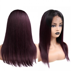 Color Full Lace Wig Straight 1B/90J  Root Ombre Color Top Quality For Women Long Straight Virgin Hair