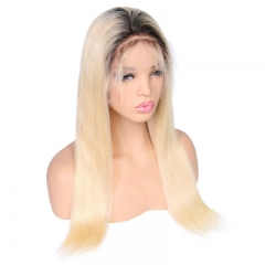 Color Full Lace Wig Straight 1B 613 Ombre Color Glueless 130% Density Black Blonde Color Wigs
