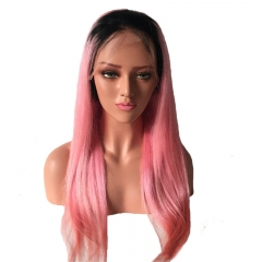Straight Color Lace Front Wig 1B/Pink Average Size Suitable Dying Colors Natural Headline No Shedding No Tangle
