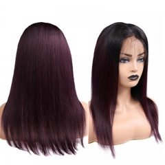 Straight 1B/90J Root Color Lace Front Wig Pre Plucked Hairline Can Be Permed With Baby Hair Bleached Knots