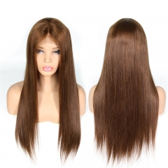 Straight Color 4# Lace Front Wig Natural Headline Bleached Knots Can Be Permed No Chemical Processing