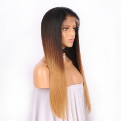 Straight 1B/4/27# Color Lace Front Wig Natural Headline Remy Hair Natural Color No Chemical Processing