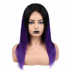 Straight 1B/Purple Color Lace Front Wig Bleached Knots Suitable Dying Colors With Baby Hair Pre Plucked Hairline