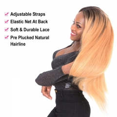 Straight 1B/27 Color Lace Front Wig No Shedding No Tangle Remy Hair No Chemical Processing Pre Plucked Hairline