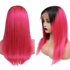 Straight Color Lace Front Wig 1B/Light Red Natural Headline Bleached Knots Can Be Permed No Chemical Processing