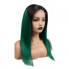 Straight Color Lace Front Wig 1B/Green Natural Headline Bleached Knots Can Be Permed No Chemical Processing