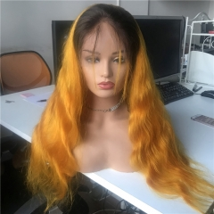 Color Full Lace Wig BodyWave 2# Root Orange Ombre Color For Women With Baby Hair
