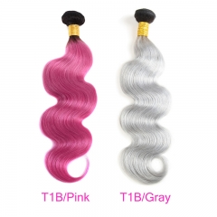 4 Bundles 1B-Pink/1B-Gray Dye Pink Hair Color Girl Human Hair Ombre Hair Braiding Hair Gray Hair