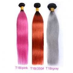 4 Bundles Straight 1B-350#/1B-Pink/1B-Gray Dye Pink Hair Color Girl Human Hair Ombre Hair Braiding Hair Gray Hair
