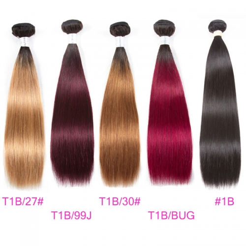 4 Bundles Straight Ombre Hair 100% Human Hair 2019 Hair Color Trends Rose Gold Ombre On Dark Hair