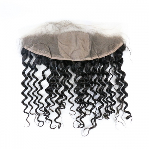 Deep Wave Curly 4x4 Silk Base Lace Closure Frontal Natural Headline Medium Brown Lace Human Hair Baby Hair