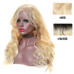 Color Full Lace Wig Body Wave 613 T1B Dark Root Honey Blonde Hair Color Wig