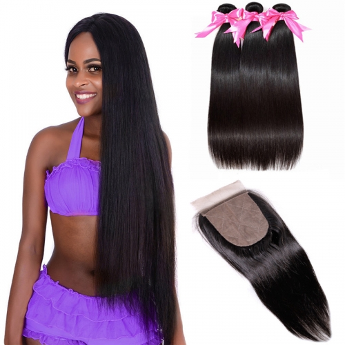 3 Bundles Straight Natural Color Hair Weft With Human Hair Silk Base Closure