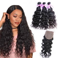 3 Bundles Human Hair Water Wave With Virgin Hair Silk Base Closure