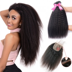 3 Bundles Cheap Human Hair Kinky Straight Hair Weft With Silk Base Lace Closure