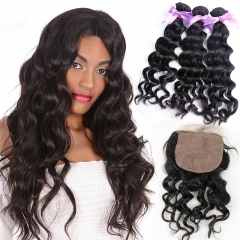 Wavy Cheap Virgin Hair Weft 3 Bundles With Silk Base Lace Closure With Baby Hair