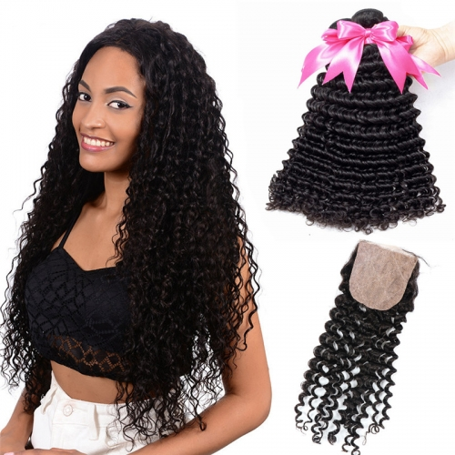 Human Hair Weft 3 Bundles Hair Weaves With Silk Base Closure Deep Wave