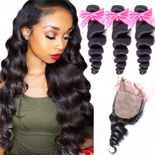3 Bundles Loose Wave Human Hair Weaves With Silk Base Closure Full Head Sew In