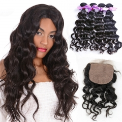 4 Bundles Natural Wave Hair With Wavy Silk Base Closure 4 Inches