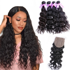 Water Wave 4x4 Inches Silk Base Closure With 4 Bundles Human Hair Bundles
