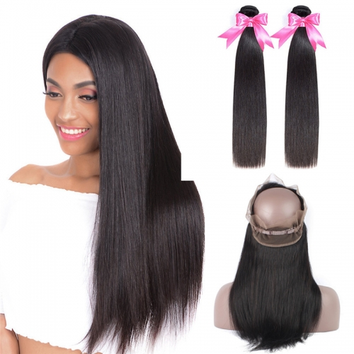 2 Bundles Straight Human Hair Weave With Natural Black Color 360 Lace Frontal
