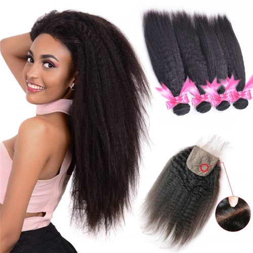 Kinky Straight 4x4 Inches Silk Base Closure With 4 Bundles Human Hair Bundles