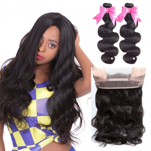 2 Bundles Virgin Hair BodyWave Natural Color With 360 Lace Frontal Natural Hairline