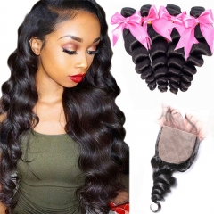 Loose Wave 4x4 Inches Silk Base Closure With 4 Bundles Human Hair Bundles