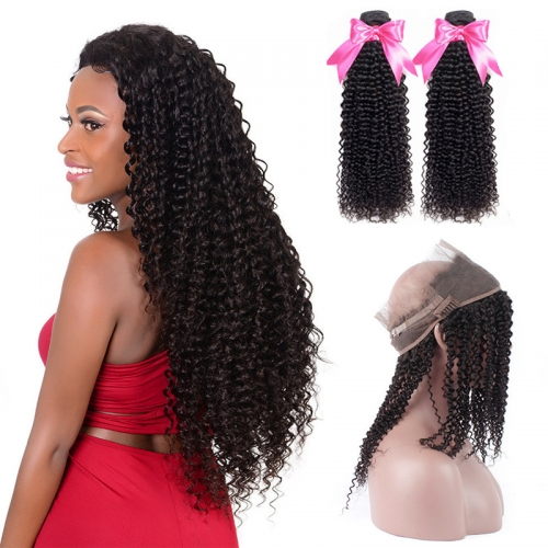 2 Bundles Afro Kinky Curly Natural Color Hair With 360 Lace Frontal With Baby Hair