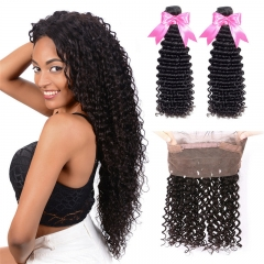 2 Bundles Human Hair With Natural Hairline 360 Lace Frontal  Deep Wave