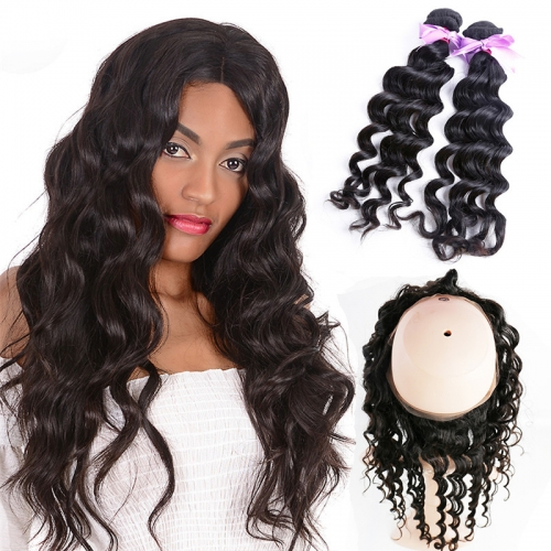 2 Bundles Natural Wave Natural Color Hair With 360 Lace Frontal Wavy Hair