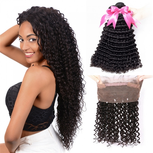 3 Bundles Human Hair With Natural Hairline 360 Lace Frontal  Deep Wave