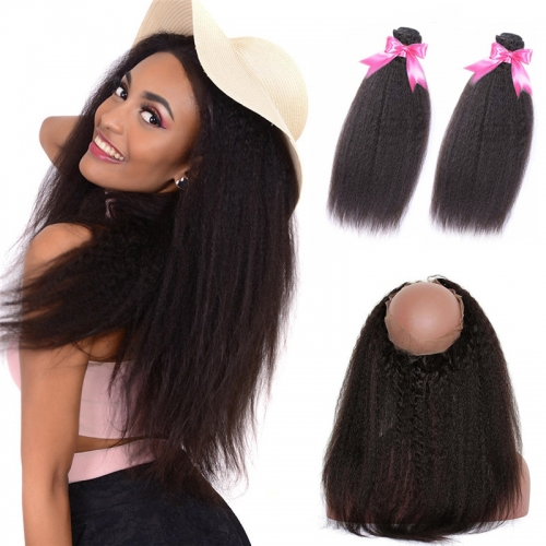 2 Bundles Natural Hair Afro Kinky Straight Hair With 360 Lace Frontal With Natural Hairline