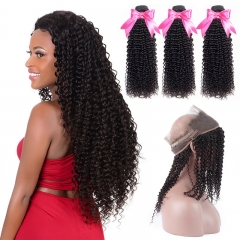 3 Bundles Afro Kinky Curly Natural Color Hair With 360 Lace Frontal With Baby Hair