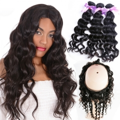 3 Bundles Natural Wave Natural Color Hair With 360 Lace Frontal Wavy Hair