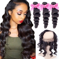 3 Bundles Virgin Hair Loose Wave With Natural Color 360 Lace Frontal