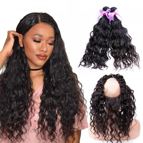 2 Bundles Water Wave With Human Hair 360 Lace Frontal With Baby Hair