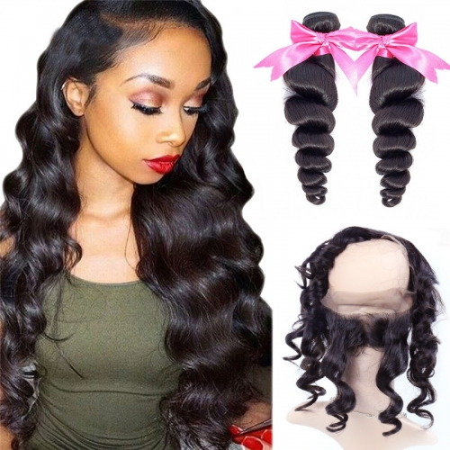 2 Bundles Virgin Hair Loose Wave With Natural Color 360 Lace Frontal