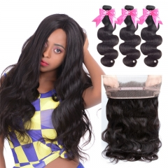 3 Bundles Virgin Hair BodyWave Natural Color With 360 Lace Frontal Natural Hairline