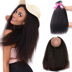 3 Bundles Natural Hair Afro Kinky Straight Hair With 360 Lace Frontal With Natural Hairline