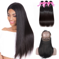 Natural Black Color 360 Lace Frontal With 3 Bundles Straight Human Hair Weave