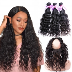 3 Bundles Water Wave With Human Hair 360 Lace Frontal With Baby Hair