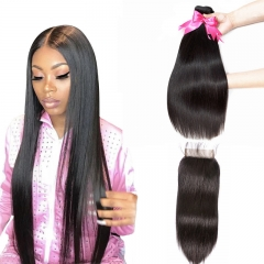 2 Bundles Straight Natural Color Hair Weft With Human Hair Transparent Lace Closure