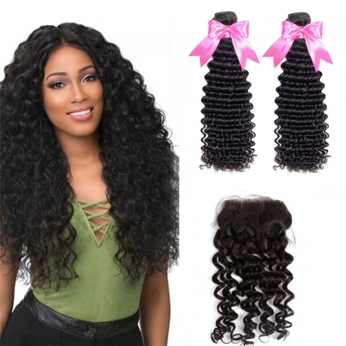 2 Bundles Deep Wave Hair Weft With Top Quality HD Transparent Lace Closure